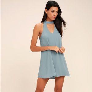 LULUS gray blue swing dress